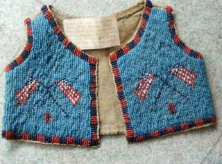 Early 1900s Sioux Indian Infant Full Beaded Hide Vest American Flag