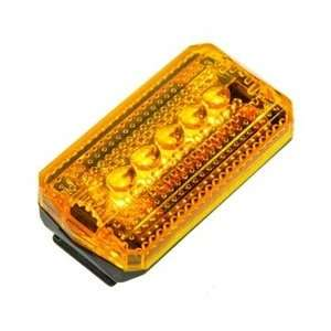 Clip On Safety Light, Battery Operated, 5 LED, Multi Function, Amber