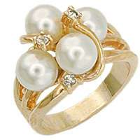 Simulated White Pearl 18kt Gold Plated Fashion Ring