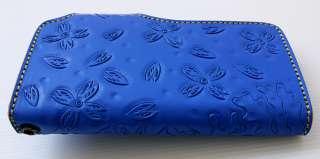 BLUE JAPANESE KOI CARP FISH TATTOO GENUINE COWHIDE LEATHER LONG WALLET