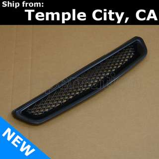 96 98 EK Civic JDM Type R Black BK 3D Mesh Front Center Bumper Hood