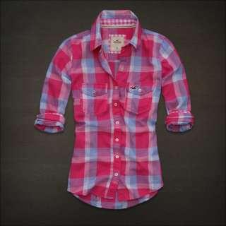 NWT Hollister Women Clobberstones Classic Plaid Shirt