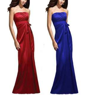 New Shirring Bust Strapless Satin Cocktail Formal Bridesmaid Dress