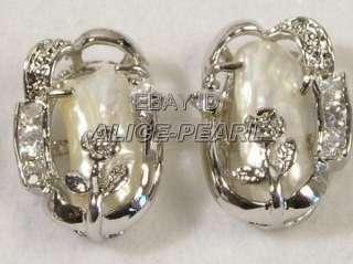Fashion Pair 18K GOld Plated WHite Biwa pearl Earring 3348