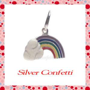 Sterling Silver COLORFUL RAINBOW with CLOUD Good Luck CHARM or PENDANT