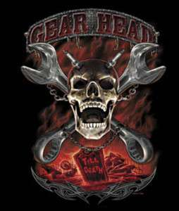 GearHead till Death Hot Rod Skull biker T Shirt