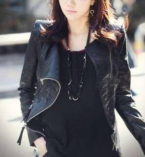 Fashion Korea Women Lady Cool PU Leather Zip Slim Jacket Coat