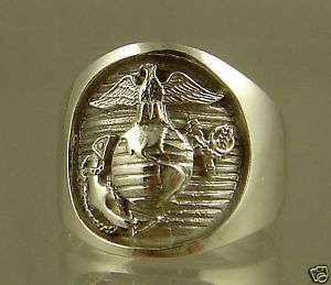 MARINE CORPS STERLING RING OFFICIAL LICENSE ! SIZE 8