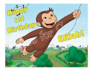 Curious George edible cake image cake topper decoration