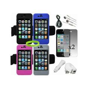 CrazyOnDigital 4 Armband Skin Cases Accessory Kit for iPhone