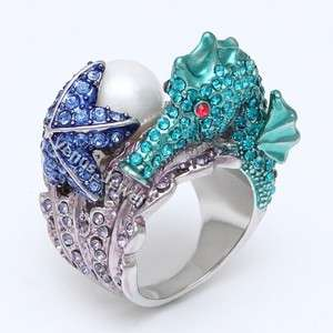 Exquisite Seahorse Starfish Pearl Rhinestone Crystal Cocktail Ring