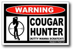 Cougar Hunter Funny Warning Sticker Decal Snowmobile