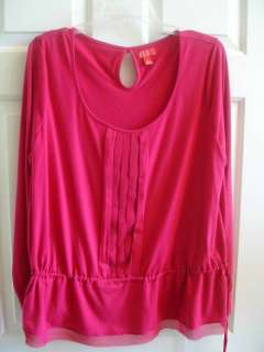 Pink Cotton Stretch Knit Pin Tuck Long Sleeve Scoop Neck Top XL 16 EUC