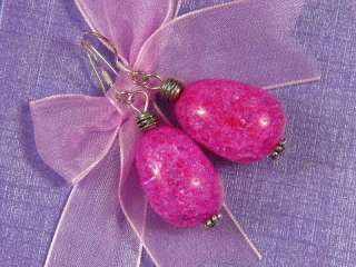 Earrings Cracky Hot Pink Crystal 22mm Nuggets 925