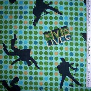 ELVIS PRESLEY Polka Dot GREEN CRANSTON Quilt Fabric BTY
