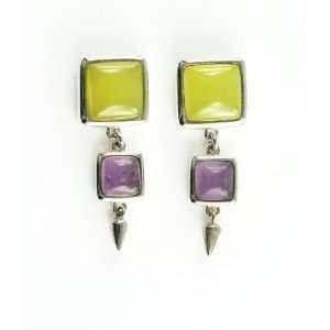 Sterling Silver Serpentine and Amethyst Stud Earrings