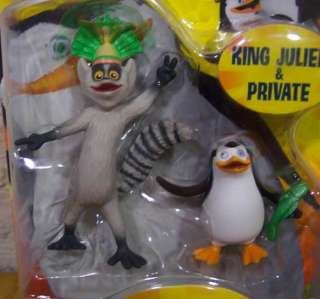 The Penguins Madagascar KING JULIEN AND PRIVATE PENGUIN Toy Figures