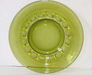 INDIANA GLASS KINGS CROWN/THUMBPRINT SALAD PLATE GREEN CLEAR GLASS