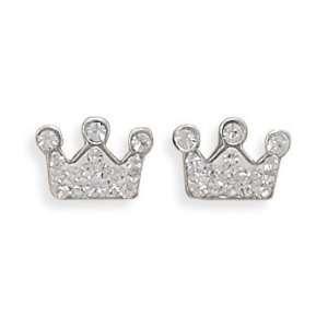 Clear Crystal Crown Stud Earrings Measures 8mm   JewelryWeb Jewelry