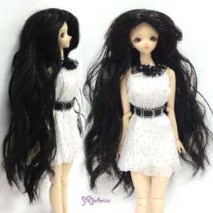 Obitsu 1/6 doll body Center Part Wave Curl Wig Black