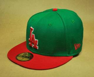 59FIFTY MLB BASEBALL CAP LOS ANGELES DODGERS TROWNBACK HAT GREEN RED
