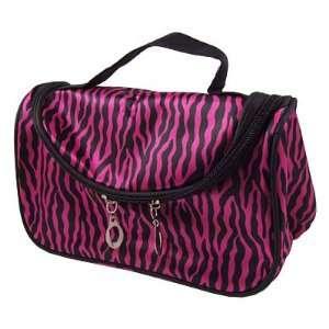 Woman Make up Black Zebra Pattern Fuchsia Foldable Cosmetic Hand Bag