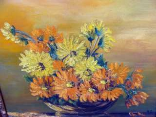 1960S RETRO ANTIQUE~VINTAGE DAISY FLOWER OLD PAINTING