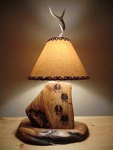 Log Lamp Carved Deer Tracks Free Shade Antler rustic Furniture