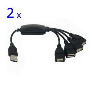KimOutlet 4 Port Mini USB 2.0 HUB High Speed 480 Mbps PC