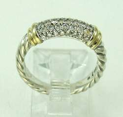 David Yurman 18K Gold Sterling Silver Diamond Ring Band