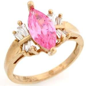 10k Solid Gold Pink CZ October Birthstone CZ Baguette Ring Jewelry