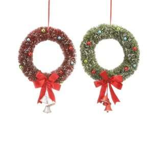 Green Bottle Brush Christmas Door Wreaths with Bells: Home & Kitchen