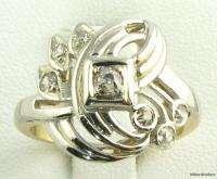 Art Deco .15ctw DIAMOND Ladies RING   14k White & Yellow Gold Mine
