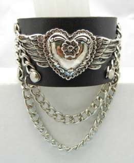 EMO Punk Rock Biker Angel Heart Chain Cuff Bracelet Wristband TEW109