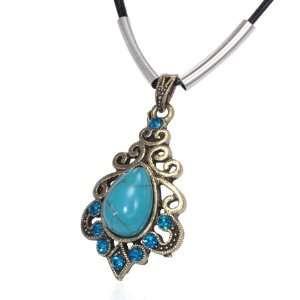 Fashion Turquoise Flower Spiral Teardrop Charm Blue Crystals Black