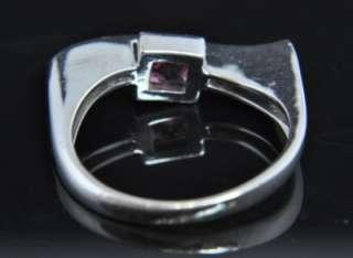 18K White Gold Rubellite Tourmaline Diamond Bar Ring