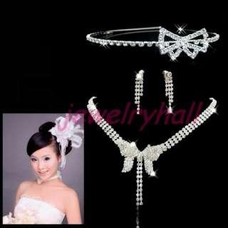 Wedding Headband Necklace Earrings Rhinestone Set New