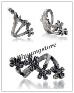 Vintage Silver Retro Plum blossom Flower Finger Ring Ladys fashion