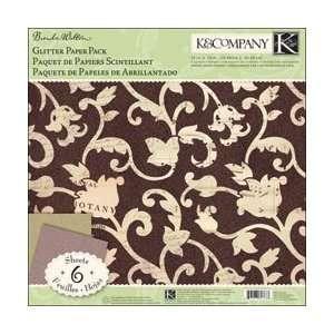 K & Company Flora & Fauna Glitter Paper Pack 12X12 6