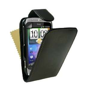 Black Leather Flip Case Cover For HTC Wildfire S With Screen Protector