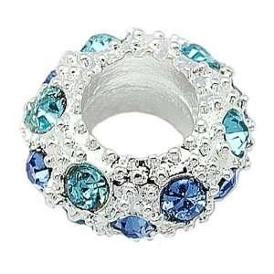 DIY Jewelry Making 12px Alloy European Beads, with Rhinestone Beads