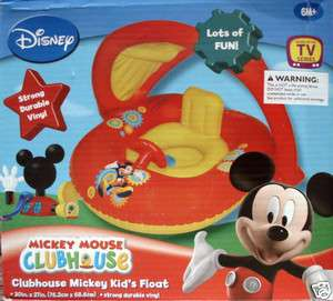 DISNEY MICKEY MOUSE KIDS INFLATABLE POOL FLOAT,RIDE ON,WITH SUN SHADE