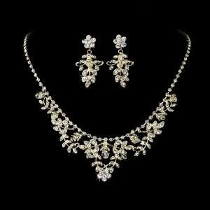 Gold Rhinestone Floral Vine Necklace Earring Set Jewelry