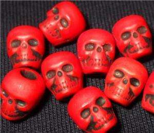 20 Blood Red Skull Beads Goth Day of the Dead Altered