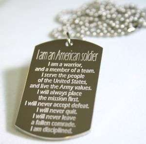 AM ARMY STRONG HONOR DOG TAG NECKLACE