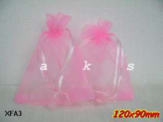 Wedding Jewelry Favor Bags Pink Organza 12x9cm XFA3