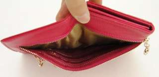 Leather Snap Clutch Wallet Multi Zip Coin Credit Card Holder Rose red