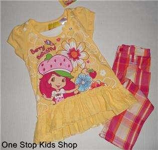 STRAWBERRY SHORTCAKE Girls 5 6 Set OUTFIT Shirt Tunic Top Pants Capris