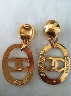 Authentic Vintage Chanel Earrings CC Logo Swing Dangle Rare Clip On
