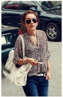 Womens Leopard Print Shirt Button Down Blouse Chiffon Tops